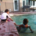 nieces in the pool